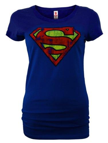LOGOSHIRT DC Comic Retro Damen Shirt SUPERMAN LOGO Blau Gr. L New Girl