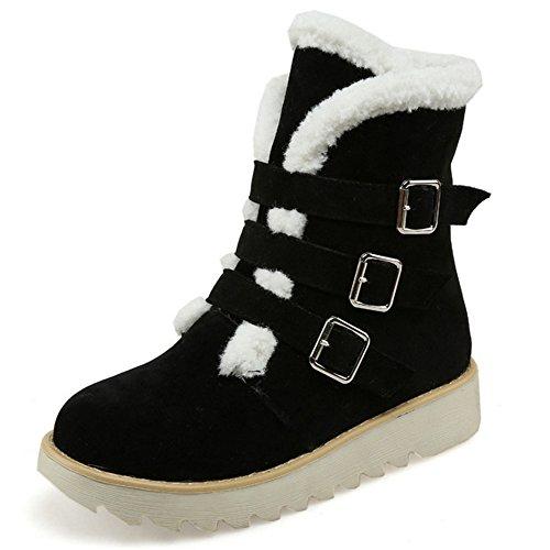 COOLCEPT Damen warme Wildleder kurze Plüsch Schneeschuhe Winter Knöchel Martin Stiefel mit Schnallenriemen Schwarz