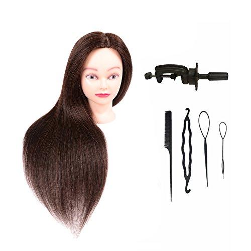 Mufly Cabeza Maniqui Academia Práctica Modelo Maniquíes de Aprendizaje con soporte, Peluqueria Practicas Formación Muñeca de la Cosmetología (cabello pelo real 90% y de pelo sintético 10%)