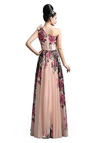 Babyonlinedress Elegant Robe de soirée/Bal/Cérémonie Longue ras au sol Encolure Asymétrique en Moussseline avec l'Impression Fleur Rose