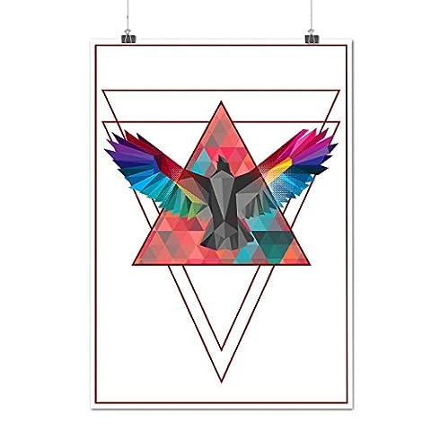 Géométrique Oiseau Mode Oiseau Vol Matte/Glacé Affiche A2 (60cm x 42cm) | Wellcoda