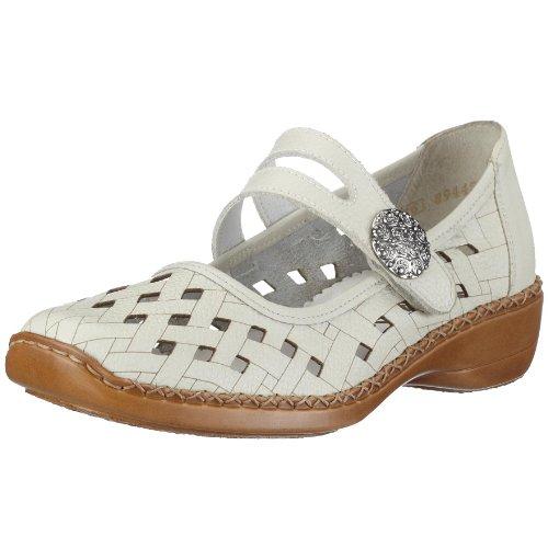 Rieker Doris 41375-80, Damen Ballerinas, weiss, (sportweiss), EU 40 -