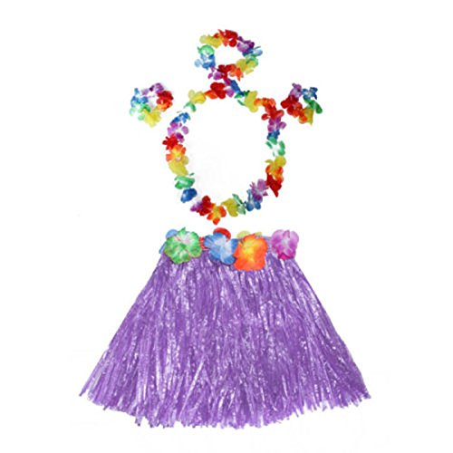 HuaYang Blumen Hula Gras Rock Phantasie Kurz Kleid Armband Kostüm Rock für Kinder Mädchen(Lila)