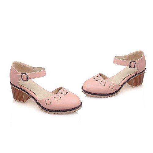 Odomolor Damen Mittler Absatz Weiches Material Schnalle Sandalen Pink