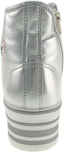 Maxstar C50 7-Fach mit Reißverschluss Fashion Platform High Top Sneakers TC-Silver