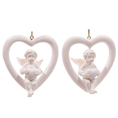 White Hanging Cherub Sitting in Heart - CHERUBS AND ANGELS