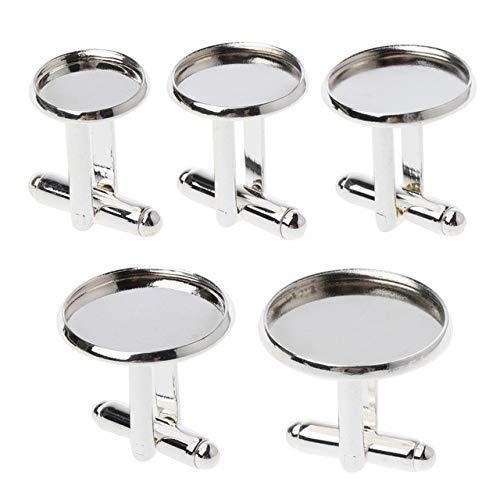 AiCheaX 10Pcs Bright Silver Französisch Manschettenknopf Blank Fit 12-20mm Runde Cabochon Cameo Base - (Farbe: Silber, Größe: 14mm)