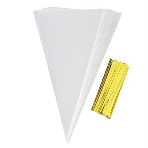 effacer-plastique-cones-de-cellophane-bags100-pcs-sweet-treat-sacs-a-dragees-package-avec-twist-ties