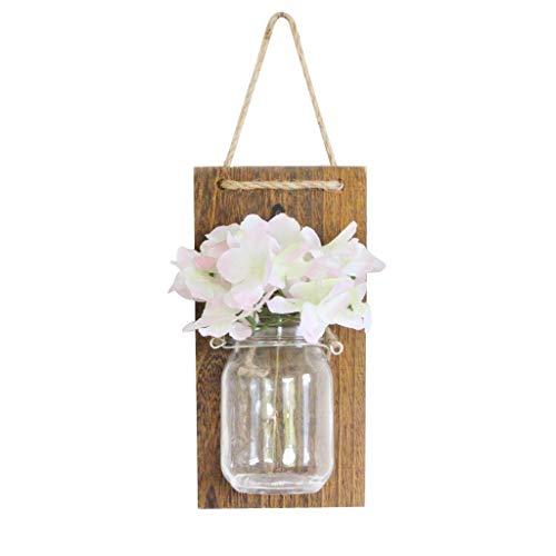 vijTIAN 1 Stück Home Retro Wanddekoration Light Seidenblume Glasflasche Daily Decor Mason Jars Sconce, rustikale Home Decor Flower Wall Decor (Mason Jar-schmetterling)