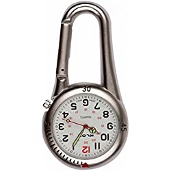 uWANTit Silver Clip On Carabiner Metal Fob Watch White Dial Paramedic Doctor Nurse Unisex Men Women