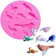 Ruikey Molde de Silicona para Fondant,Molde del silicón del pájaro,Molde para Hornear