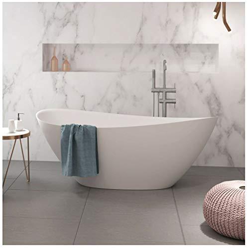 Naka24 freistehende Badewanne aus Mineralguss 170x75x65,8 cm weiss Design VENTI