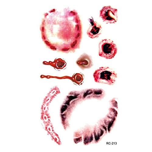 LLAAIT Halloween étanche tatouages temporaires pour dame femmes 3d réalité vampire conception de cicatrice de sang tatouage autocollant RC2213, RC2213