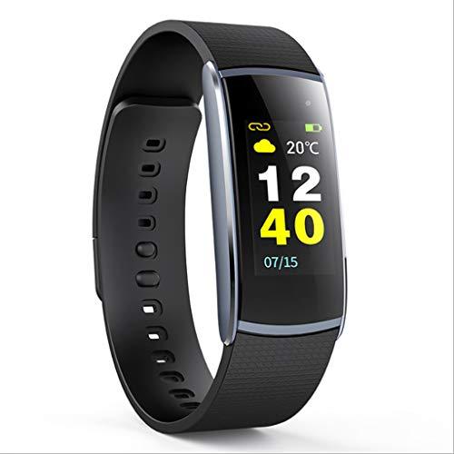 Intelligentes Armband, Bluetooth intelligente Uhr Wasserdichtes IP67 Sport-Schrittzähler-Schlaf-Überwachung für IOS-Android-Telefon (Color : Black)