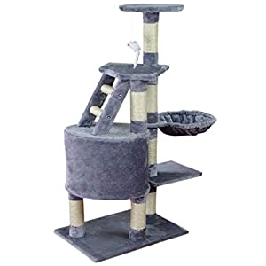 Wellhome Cat Tower Cat Tree Activity Centre Sisal Covered Cat Scratch Post with Hammock Perches Platform and Toy Mouse 120cm Grey from Wellhome