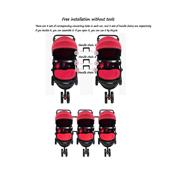 Twin Baby Stroller Sit/recumbent Lightweight Folding Detachable Ultralight Shock Absorber Bb Three-wheeled Trolley Suitable For 0-3 Years Old,L BABY CARRIAGE ZLMI ✿ detachable separately, easy to split and use independently, split twins advantage ✿ one set for three sets: 0-3 years old need one car, no need to buy another single car ✿ Alleviate the travel burden: the baby has their own car in independent action, the reinforced frame is strong in weight! It can bear the weight of two adults at the same time. 6
