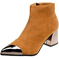 ef36dfc3d0 Botas para Mujer Moda Invierno ZARLLE Moda Mujeres punta estrecha Suede Zapatos  de cuña de tacón