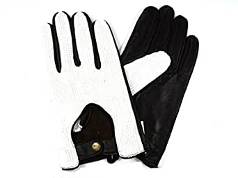 MENS NEW BROWN AND WHITE LEATHER DRIVING GLOVES