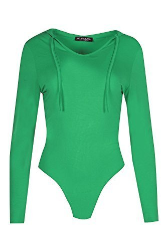 Oops Outlet Damen Kapuzenpulli Viskose Jersey Dehnbar Damen Kapuze Body Anzug Plus Größe 34-50 - Jadegrün, 48-50