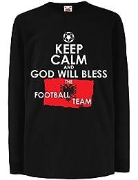 lepni.me Niños/Niñas Camiseta Dios bendecirá al Equipo de Fútbol Nacional Albanés -