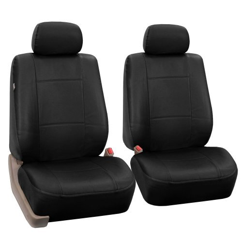 FH-PU001102 PU Leather Car Front Bucket Seat Covers Solid Black color by FH Group