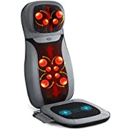 INTEY Shiatsu Massage Chair Pad Back Massager Machine with Heat (Back& Neck) / Vibrating (Seat) Functions for Home Office