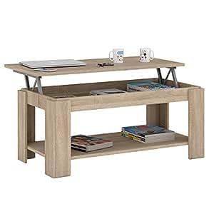 Habitdesign 001639F Table basse relevable avec porte-revues intégré Chêne naturel 102x 50x 43/54cm de hauteur