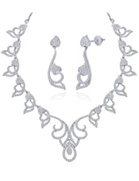 "Peora Rhodium Plated Cubic Zirconia ""Asmita"" Necklace Earrings Set For Women"