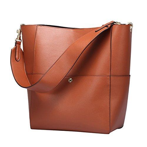 S-ZONE Frauen Farbblockierung Echtes Leder Schulter Beutel Handtaschen (Braun) (Leder-koffer)