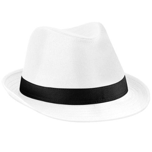 Beechfield Unisex Hut Fedora (S/M) (Weiß/Schwarz) Small / Medium,Weiß/Schwarz (Damen Weißen Hut)