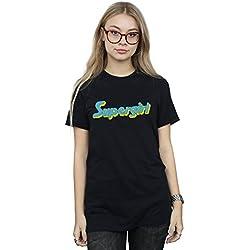 DC Comics Mujer Supergirl Text Logo Camiseta del Novio Fit Medium Negro