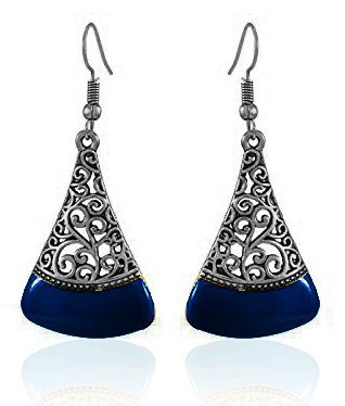 YouBella Jewellery Silver Plated Oxidised Fancy Dark Blue Party Wear Dangle &...