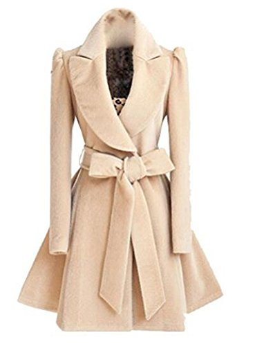 Brinny Trenchcoat Wintermantel Parka Mantel Collegejacke Damen Elegant Revers Lange Ärmel Einfarbig Herbst Winter, Schwarz M