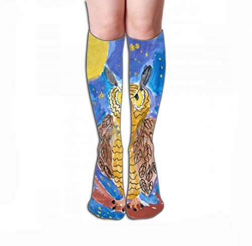 Xunulyn Hohe Socken Men Women Outdoor Sports High Socks Stocking Gouache Painting owl Perched Tree Starry Night Background Made Child Tile Length 19.7
