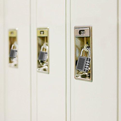 emiup Lot de 2cadenas à combinaison 4chiffres pour l'école Gym casiers, Bagages Valise bagages serrure, armoire de classement, boîte à outils, étui (Noir)