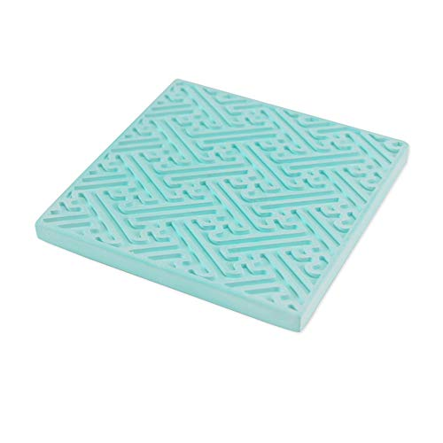 d Towel Coaster Diatom Earth Tea Cup Mat Waterproof Mildew Anti-Slip Deodorant Moisture-Proof High Temperature Square Blue 10 * 10 * 1Cm*4Pcs ()
