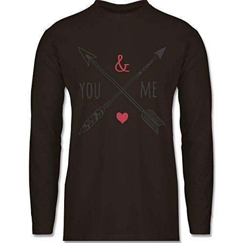 Valentinstag - You & Me Pfeile - Longsleeve / langärmeliges T-Shirt für  Herren Braun