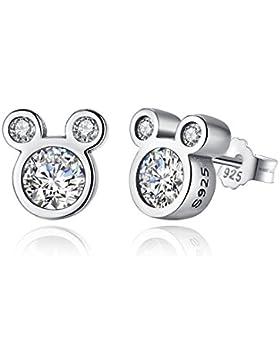BAMOER 925 Sterlingsilber-klassische Dazzling Maus-Bolzen-Ohrringe CZ für jugendlich Mädchen-Schmucksachen