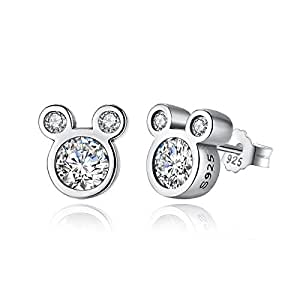 Mouse Ladies Girls Sparkly Cubic Zirconia And Sterling Silver Earrings Stud Earrings