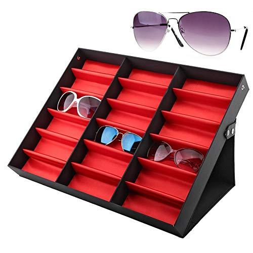 Brillenfach, 18 Slot Aufbewahrungsbox für Lesebrillen, Schmuck, Aufbewahrungsbox für Schmuck für alle Uhren, Portable Tray Store und Halter für den Heimgebrauch