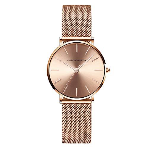 Hannah Martin Damen Uhren Analog Quarz Edelstahl Armband Wasserdicht Mesh Ultradünne (Roségold)