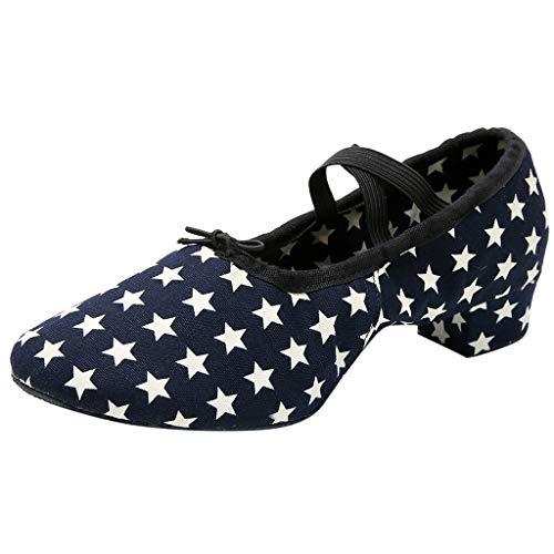 fessionelle Tanzschuhe Cross Belt Stars Bedruckte Schuhe mit niedrigem Absatz Latin Salsa Tango Modern Dance Schuhe ()