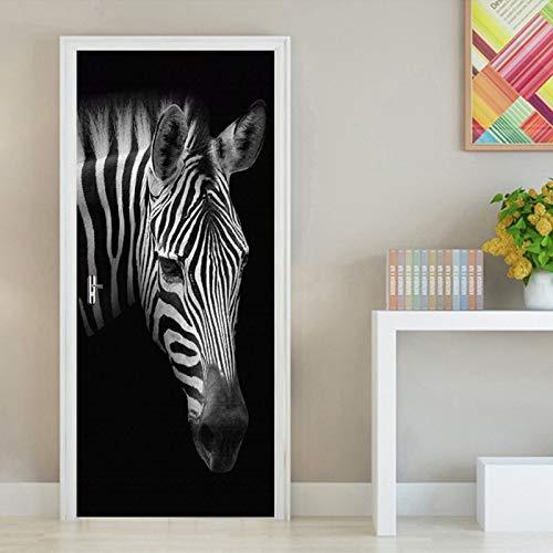 CYMTZ Retro Schwarz Weiß Zebra Fototapete DIY 3D Tür Aufkleber PVC Selbstklebende Aufkleber Wohnzimmer Schlafzimmer Tür Wohnkultur Aufkleber,77x200cm