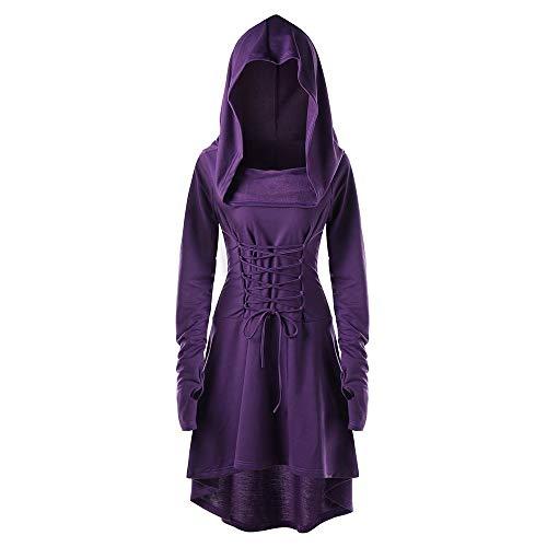 90's Kostüm Power Ranger - INLLADDY Damen Langarm mit Kapuze Mittelalter Kleid Cosplay Dress Mittelalter Kleidung Kostüm Lang Halloween Kostüm Violett S