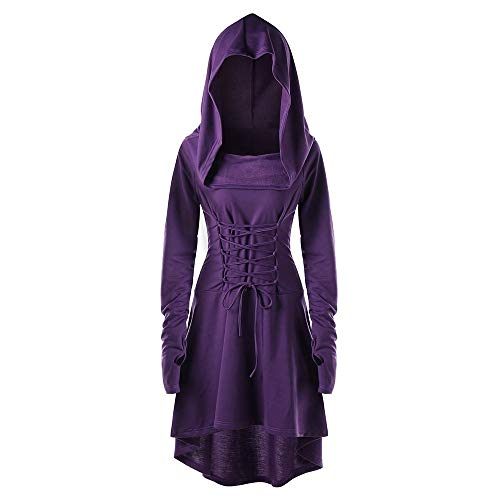 INLLADDY Damen Langarm mit Kapuze Mittelalter Kleid Cosplay Dress Mittelalter Kleidung Kostüm Lang Halloween Kostüm Violett S (90's Power Ranger Kostüm)