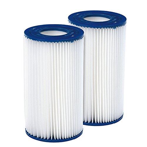 Jilong Pool Filter Catridge No. III - Filter im 2er Set für Poolpumpe, Kartuschenfilter Ø 106x203 mm, Innendurchmesser Ø 52 mm für Schwimmbecken Schwimmbad Spa Whirpool Pumpe