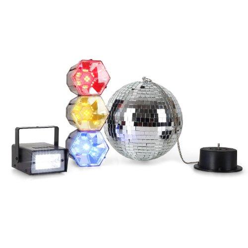oneConcept Disco Fever Mega Party Set Party-Beleuchtung 3-teiliges Licht Set aus Discokugel-Spiegelkugel, Mini-Blitzer Stroboskop und (Stroboskop Licht Blitz)