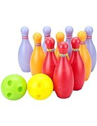 Big Ensemble de Boule de bowling en plastique, 2balles et 10broches, coloré