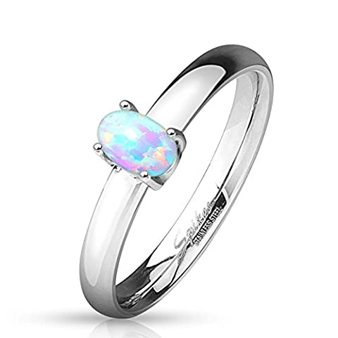 Paula & Fritz® Verlobungsring aus Edelstahl Chirurgenstahl 316L Classic mit Opal 57 (18) (Opal Modeschmuck)