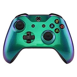 eXtremeRate Gehäuse für Xbox One S/X,Obere Case Hülle Cover Schale Schutzhülle Zubehör Soft Touch Skin Shell für Xbox One S/Xbox One X Controller Modell 1708(Grün-Blau-Lila)